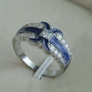 Charm Letter X Shaped Blue Sapphire Silver Ring